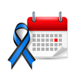 Blue and black awareness ribbon and calendar vector