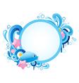 Summer blue marine round banner vector