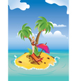 Red bikini girl on island vector