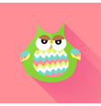 Green flat owl over pink vector
