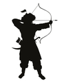 Oriental archer warriors theme vector