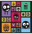 Set of funny monsters on bright background vector