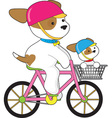Cute puppy on bike vector