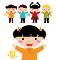 Cute autumn kids in row holding hands vector