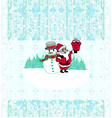 Christmas background santa and snowman drawing vector