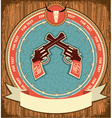 Western symbol background on wood texture vector