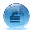 3d glass sphere credit card icon vector