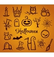 Retro graphical composition with halloween eleme vector