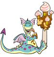 Dragon with ice cream vector