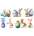Easter eggs with playful bunnies vector