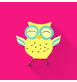 Yellow flat owl over pink vector