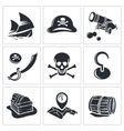 Pirates icon collection vector