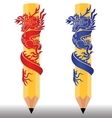 Pencil dragon2 vector