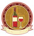 Red wine bottle labelvintagel background on old vector