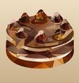 Chocolate cake polygon vector