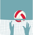 Playing volleyball with net vector