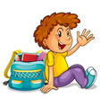 A boy with school bag vector
