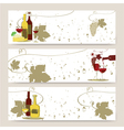 Set of horizontal banners with glass of red wine vector