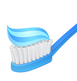 Blue toothbrush and toothpaste vector