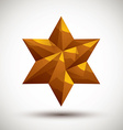 Golden six angle star geometric icon made in 3d vector