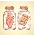Sketch medical set in vintage style vector