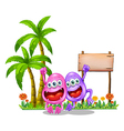 Two happy monsters near the empty wooden signboard vector