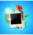 Blue background with red parrot and photo vector