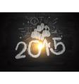 Bright light bulb illuminate the number 2015 vector