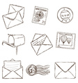 Mailing icons - sketch style vector