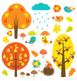 Birds and trees in autumn vector