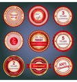 Set of sale badges labels and stickers in red vector
