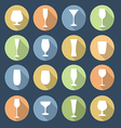 Drink glasses icons set vector