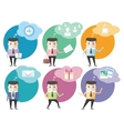 Business man icons with dialog bubbles vector