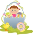 Cute easter with child vector