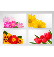 Set of banners with different colorful flower vector