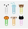 Paperclips with animal head set panda rabit dog vector