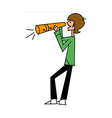 Side view of boy holding megaphone vector