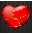 Valentines day heart wrapped in red ribbon vector