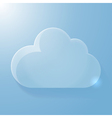 Glossy blue cloud icon with light vector