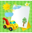Toy construction machine paper postcard template vector