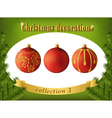 Christmas decorations collection of red glass vector