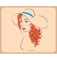 Handdrawn woman wearing wavy red hair and hat vector