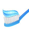 Blue toothbrush and whitening toothpaste vector