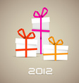 Simple christmas gifts made from paper stripes vector