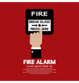 Hand push fire alarm button vector