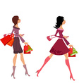 Fashion girls with purchase for your design vector