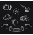 Chalk fruit and vegetables icon vector
