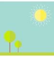 Sun sky tree grass bird summer landscape in flat vector
