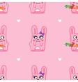 Funny cartoon bunnies st valentine day seamless vector