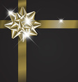 Golden bow on a ribbon with black background vector